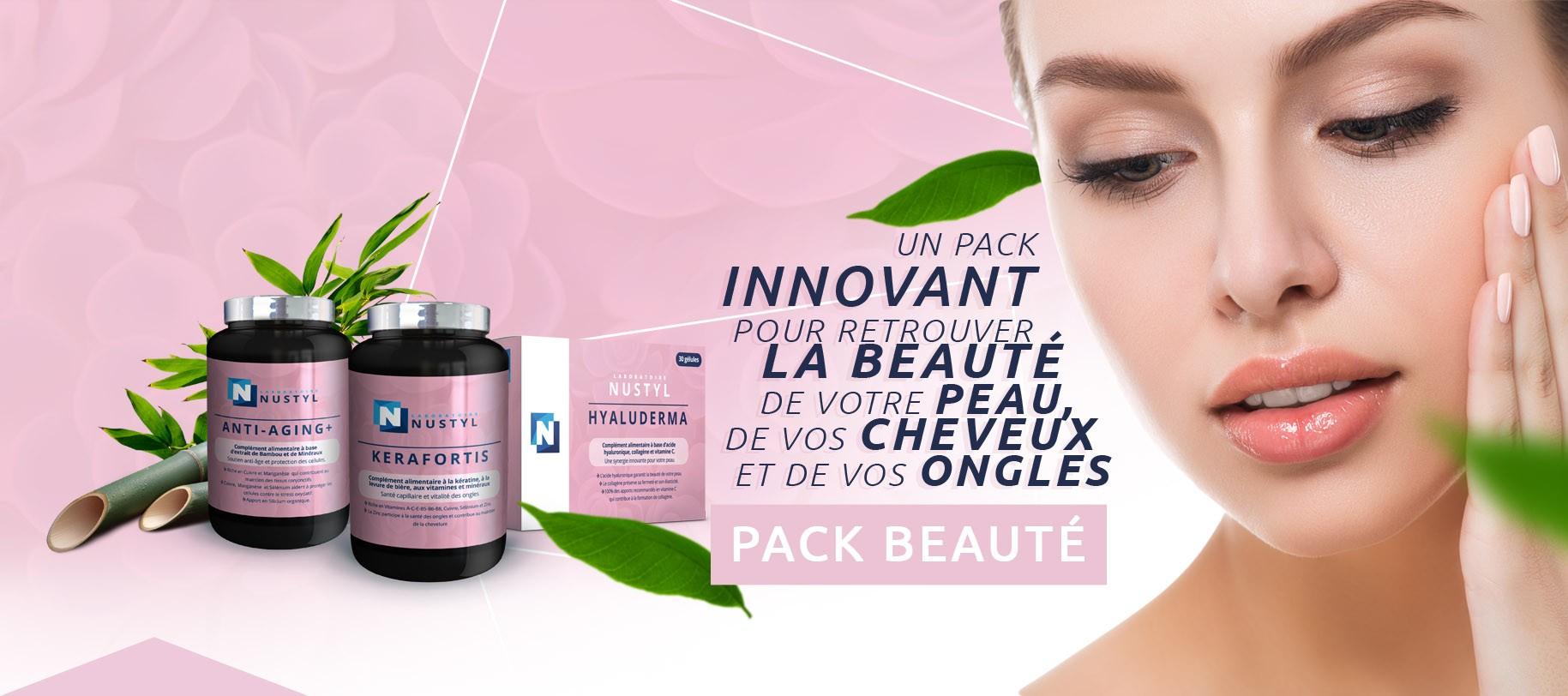Le Laboratoire Nustyl vous présente le Pack Beauté: Un pack innovant pour retrouver la beauté de votre peau, de vos cheveux et de vos ongles
